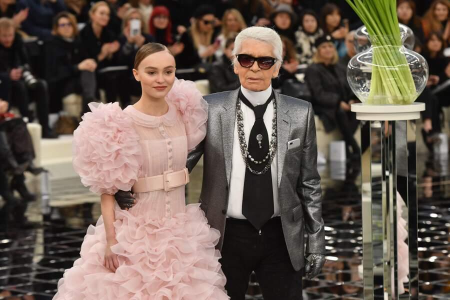 Défilé Chanel Haute Couture : Lily-Rose Depp et Karl Lagerfeld
