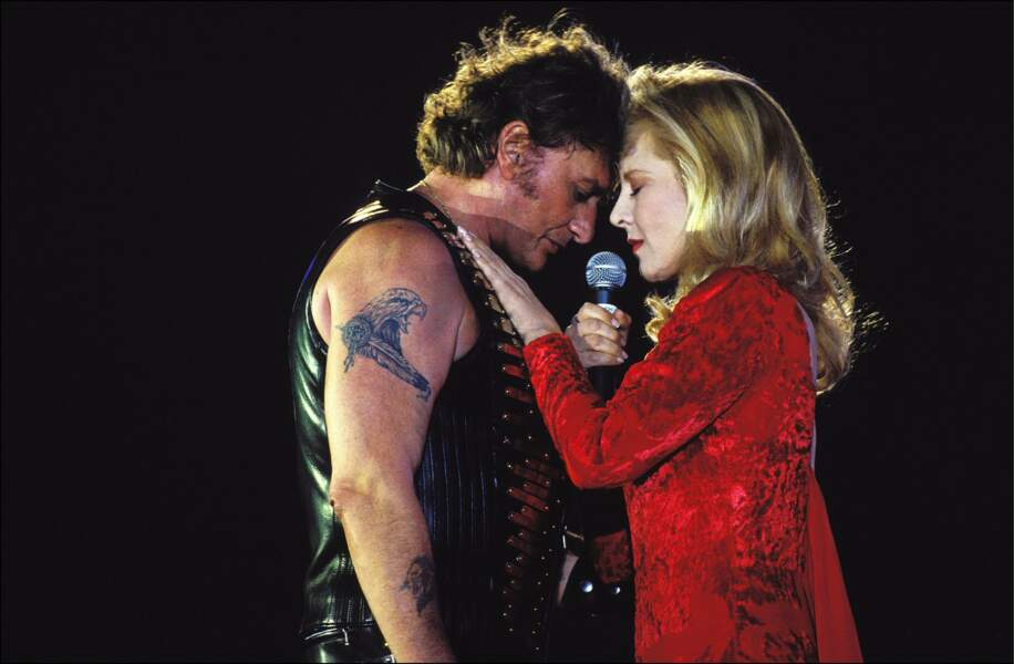 Johnny Hallyday et Sylvie Vartan au Parc des princes en 1993 pour son 50ème anniversaire
