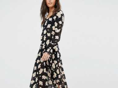 Mode shopping robe longue fluide à imprimés