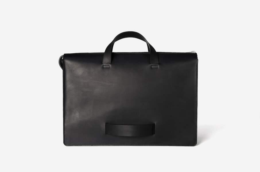 Sac Briefcase en cuir de veau pleine fleur et tanné végétal made in France Le Feuillet - 550 €