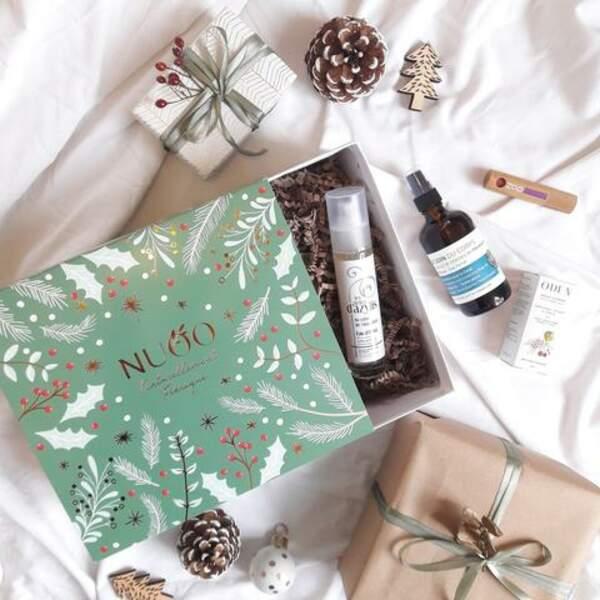 Le coffret de beauté avec 4 produits de beauté bio et naturels en grand format et un calendrier papier, NUOO, 49€