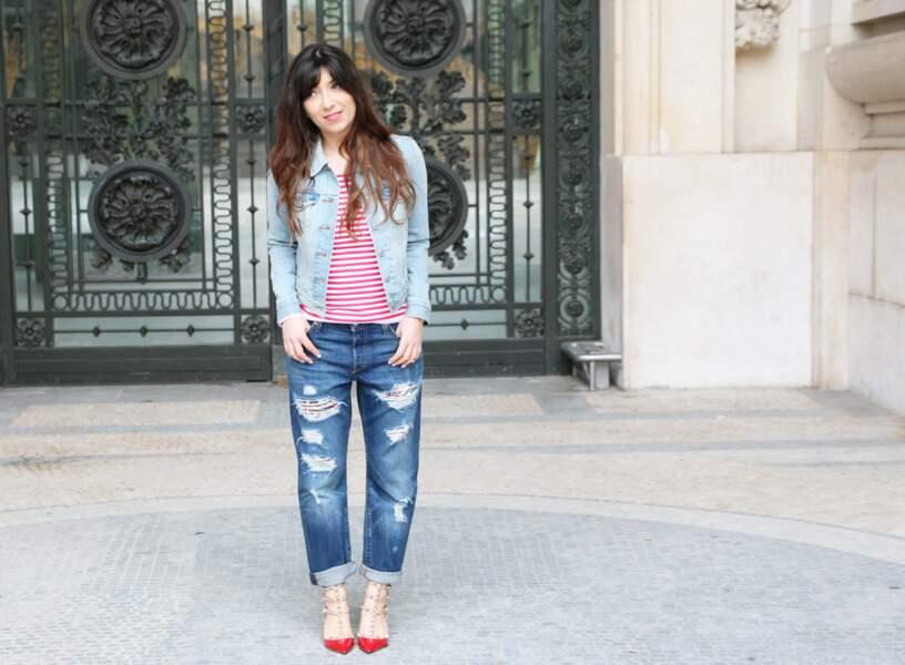 Marieluvpink en jean customisé Levi's et marinière intemporelle