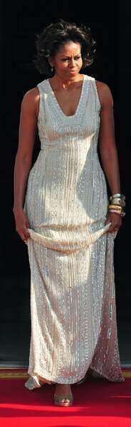 Michelle Obama en robe Naeem Khan brodée de perles