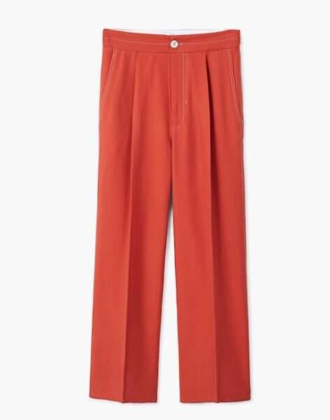 Pantalon rouge à coutures contrastantes, Mango, 49,99 euros