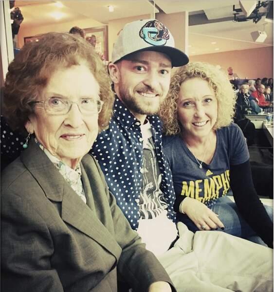 Justin Timberlake avec sa grand-mère et sa mère