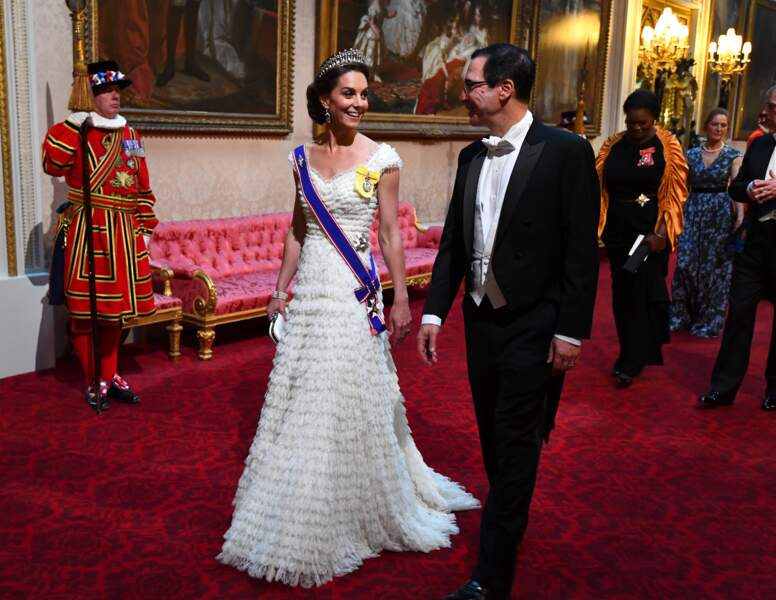Kate Middleton et Stephen Mnuchin (secrétaire du trésor des Etats-Unis) au banquet organisé à Buckingham Palace