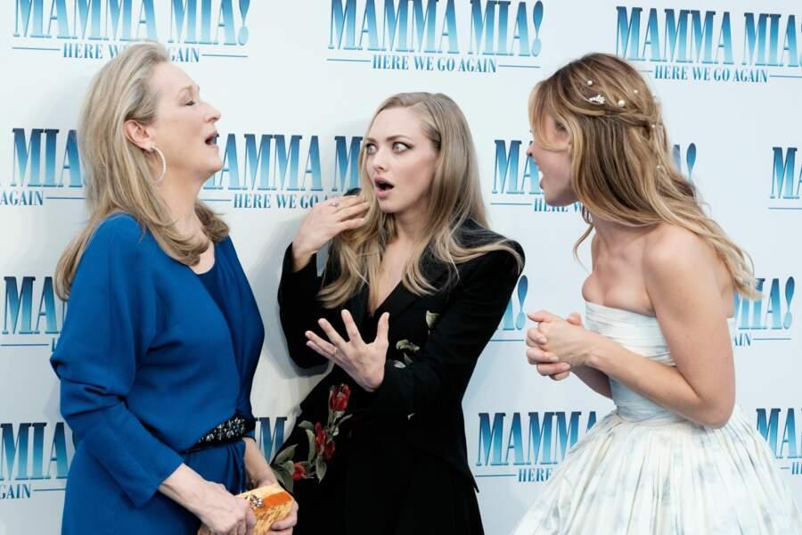 Meryl Streep, Amanda Seyfried et Lily James à l'avant-première de Mamma Mia 2 à Londres, le 16 juillet