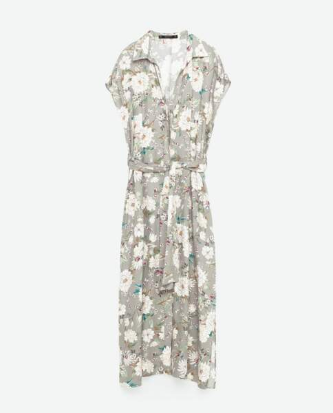 Zara tunique longue imprimée 39,95 euros