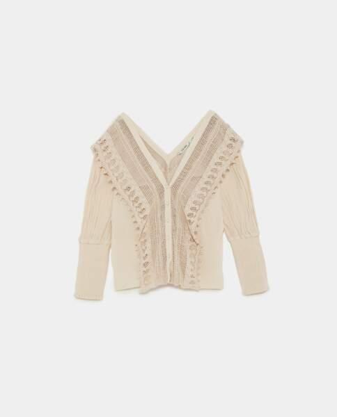 Blouse bimatière en crochet, Zara, 29,95 euros