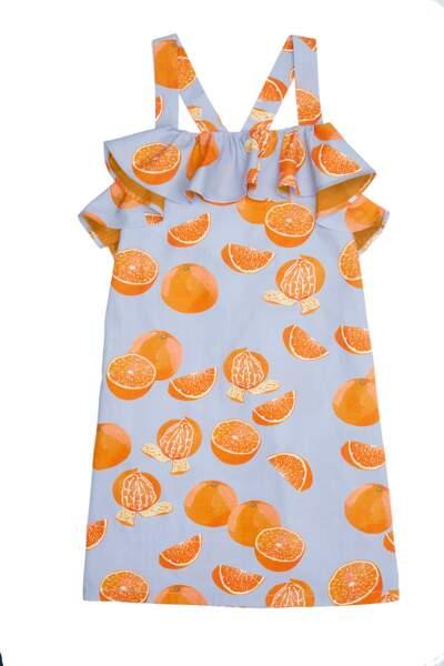 Robe. En coton imprimé oranges, 74 €, Milk and Biscuits
