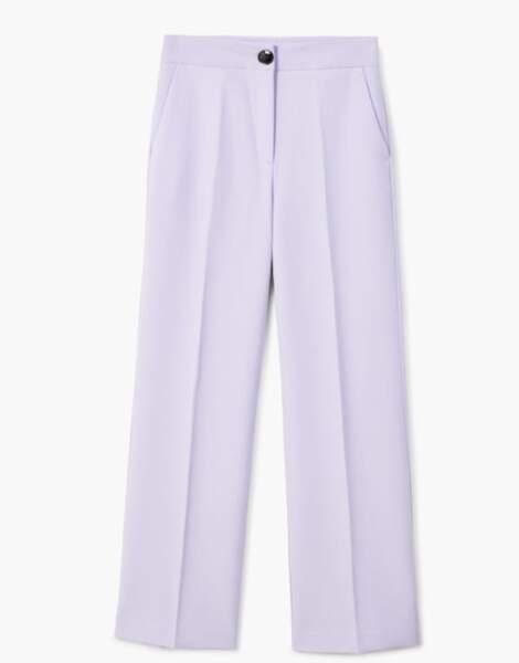 Pantalon palazzo taille haute lilas, Mango, 35,99 euros
