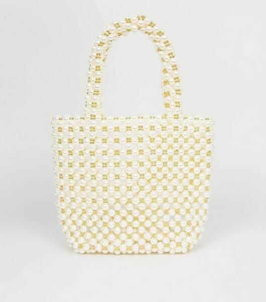 Sac blanc cassé à effet perles, Newlook, 39,99€