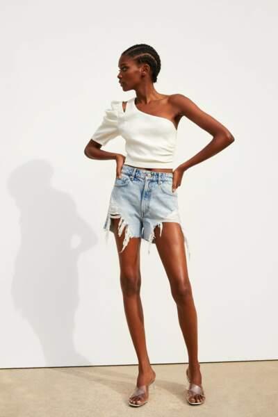 Short en jean taille haute avec déchirures, Zara, 19,99€
