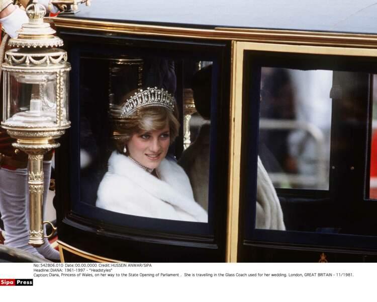 Lady Di portant son diadème favori en 1981
