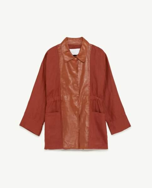Veste cognac en lin et cuir, Zara, 79,95 euros