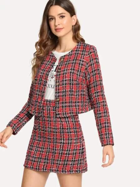 Manteau en tweed à carreaux, Shein, actuellement à 22€