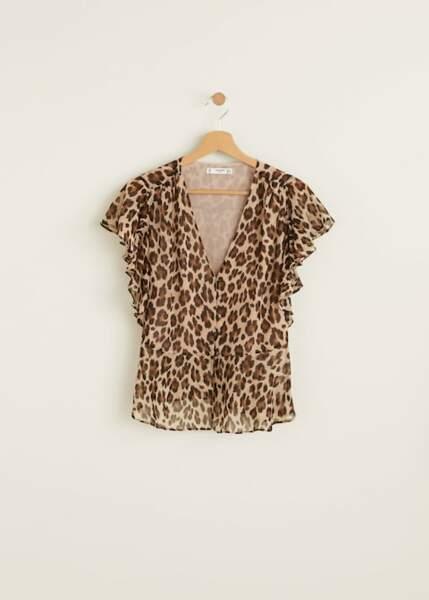 Blouse à volants léopard, Mango, 35,99€