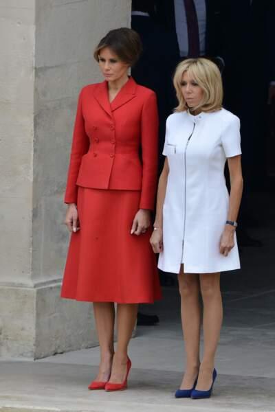 Brigitte Macron en robe blanche 60's Louis Vuitton