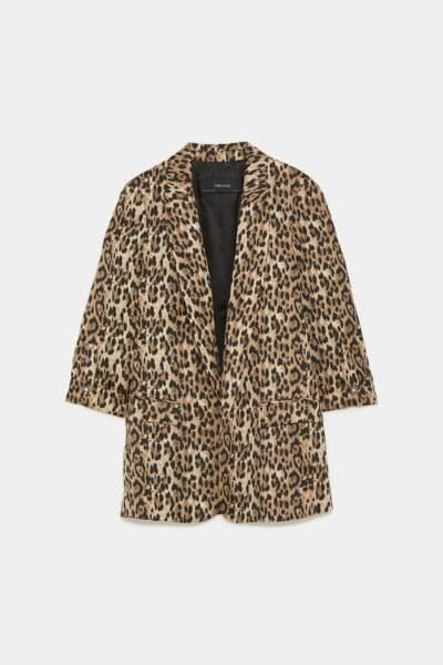 Veste blazer léopard, Zara, 49,95€