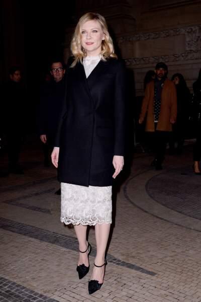 Fashion Week Haute Couture : Kirsten Dunst arrivant chez Ralph & Russo