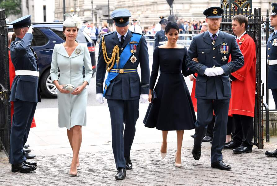 Kate Middleton, le prince William, Meghan Markle et le prince Harry, au centenaire de la Royal Air Force, à Londres