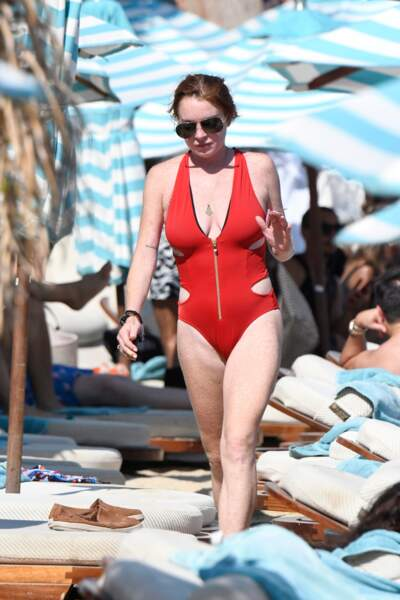 Les pires maillots des people en vacances : Lindsay Lohan à Mykonos