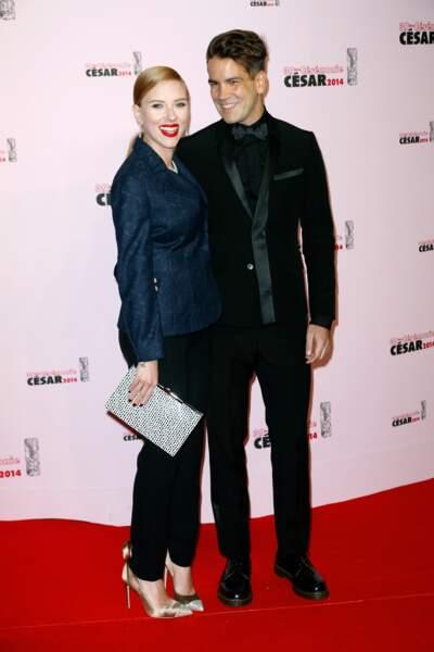 Février 2014 : Scarlett et Romain invités aux César, premières rumeurs autour de la grossesse de la star