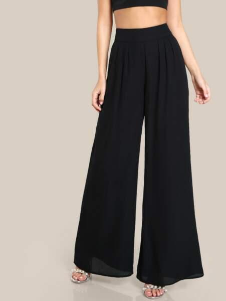 Pantalon palazzo taille haute noir, Shein, 16,55 euros