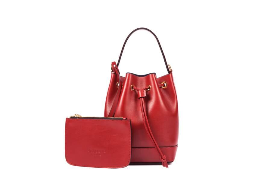 Léo et Violette : Le Mini Violette, cuir rouge, 210 euros