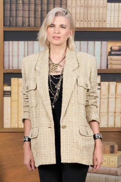 Cécile Cassel au défilé haute couture Chanel, au Grand Palais