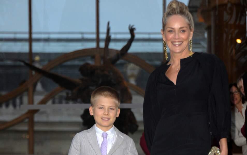 Sharon Stone et son fils à la soirée The Glory of Water donnée par Fendi