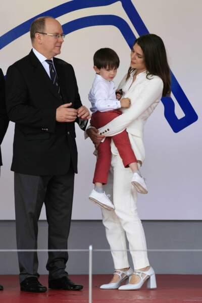 Formule E à Monaco : Prince Albert II de Monaco, Charlotte Casiraghi et son fils Raphaël Elmaleh