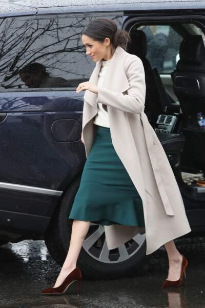 Meghan Markle : le do, le manteau en laine, plus long que sa jupe