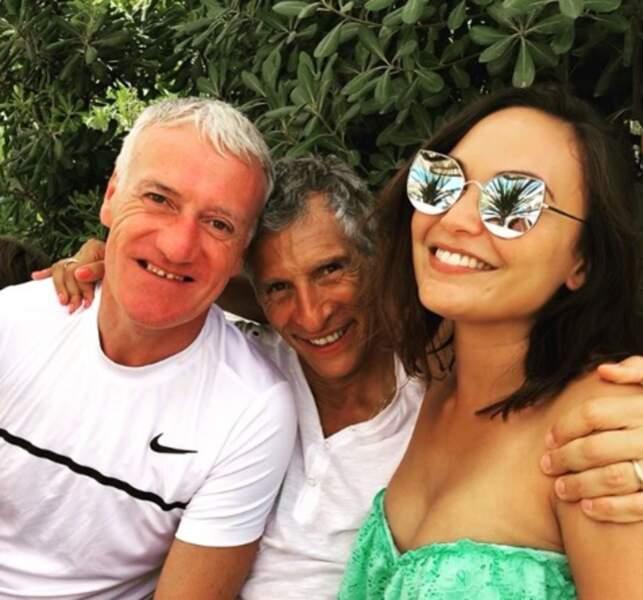 Les Miss en vacances : Valérie Bègue en compagnie de Nagui et Didier Deschamps