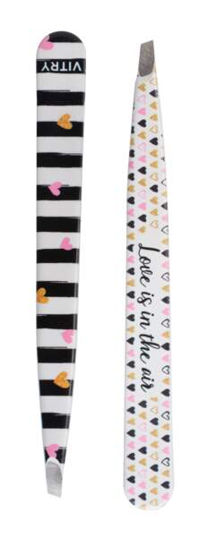 Pince à Epiler Coll. LOVE Rayures noires coeurs, 12,80 €, Vitry