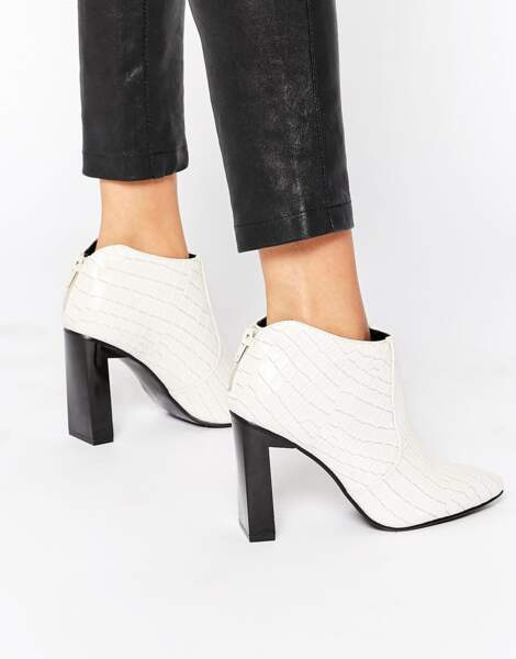Low boots à talons blanches, Asos, 62,99€