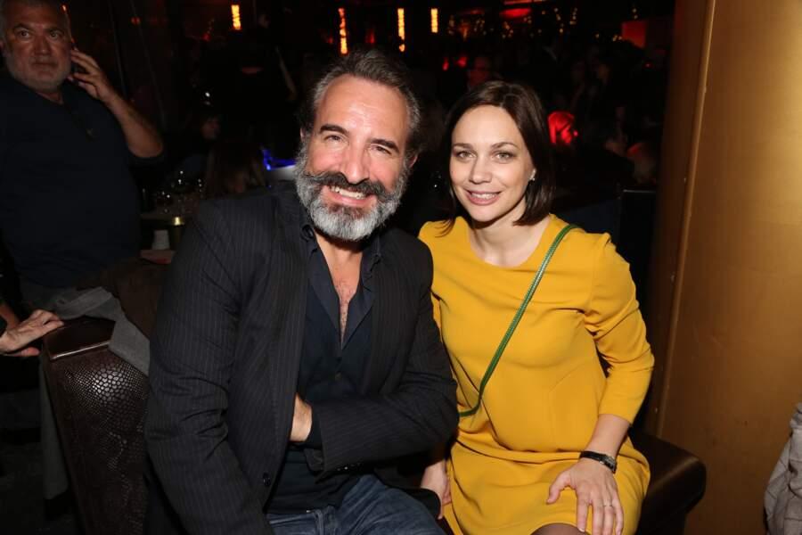 Jean Dujardin et Nathalie Péchalat à l'after party du film Chacun sa vie, en 2017