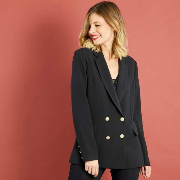 15 pièces modes à shopper chez Kiabi : Veste tailleur double boutonnage, 24 euros au lieu de 30 euros