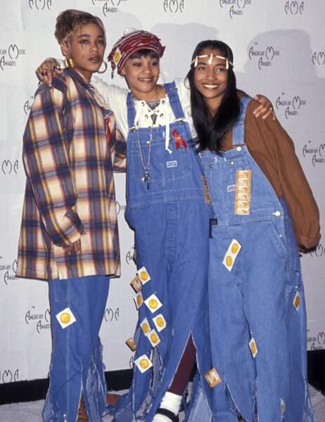 """T-Boz, Lisa """"Left Eye"""" Lopes et Chili, alias les TLC, dont la carrière débute en 1992"""