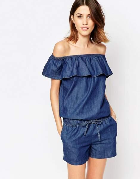 Combishort en jean Vero Moda : 27,99€
