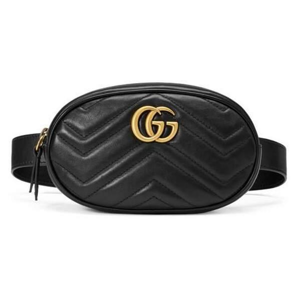Le retour du sac banane : Sac ceinture GG Marmont en cuir matelassé, Gucci, 850 euros