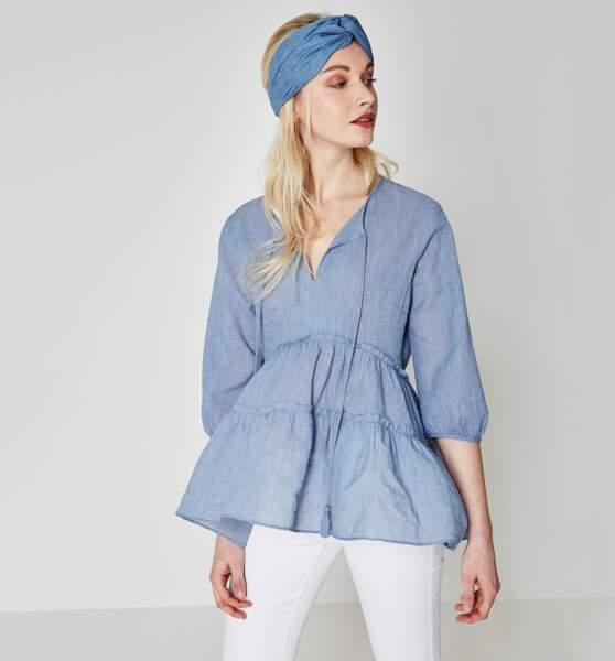Blouse bleue façon denim, Promod, 39,95 euros