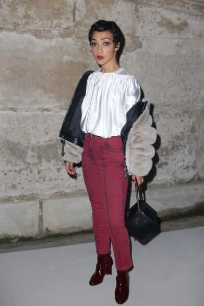 Ruth Negga au défilé Louis Vuitton lors de la fashion week de Paris, le 6 mars