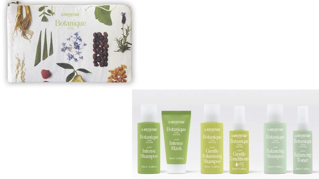 Format voyage des produits La Biosthétique vendus à l'unité, trousse offerte dès 3 produits achetés
