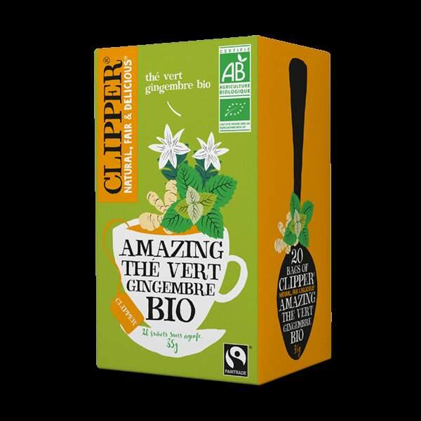 Notre Top 5 des boissons pour passer l'hiver : Thé vert gingembre bio, Clipper, 3,45€