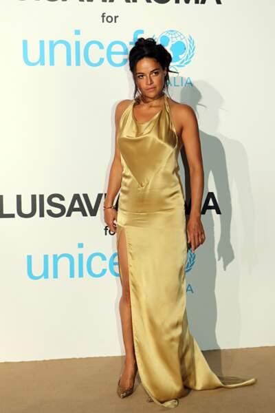 Michelle Rodriguez, au gala de l'UNICEF en Sardaigne, le 10 août 2018