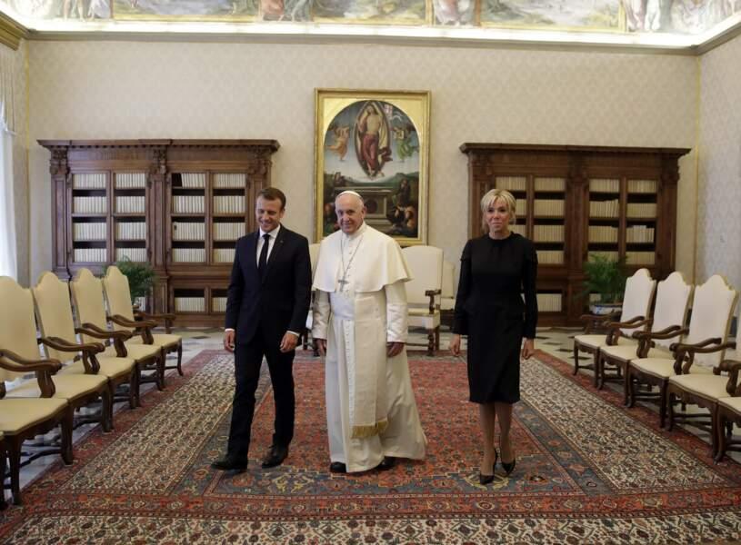 Emmanuel et Brigitte Macron rencontre le pape François au Palais du Vatican