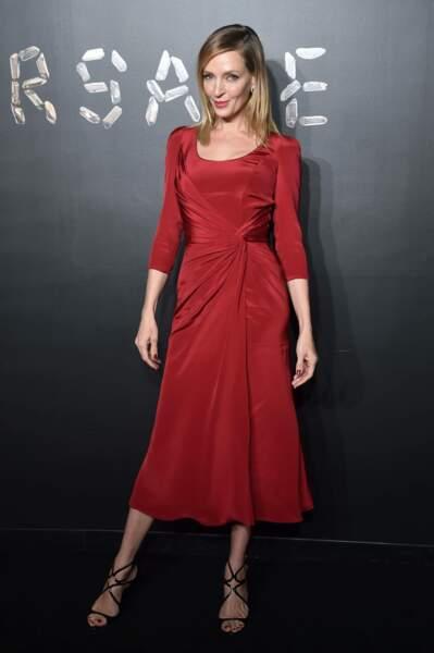 Uma Thurman au défilé Versace, le 2 décembre 2018, à New York