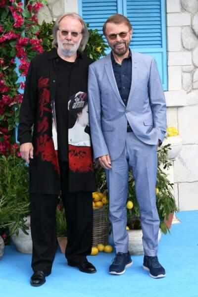 Benny Andersson et Björn Ulvaeus (ABBA) à l'avant-première de Mamma Mia 2 à Londres, le 16 juillet
