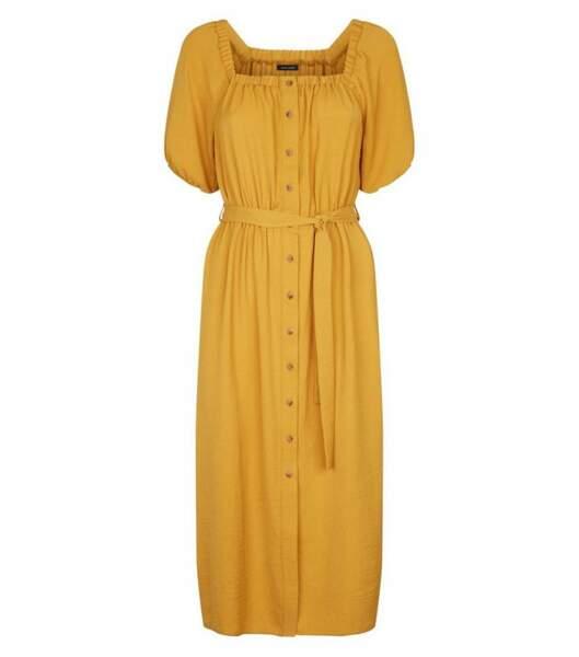 Robe midi jaune moutarde, Newlook, 29,99 euros